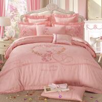 婚庆床品 粉色四件套全棉棉八件套床单式1.8m结婚简约床上用品