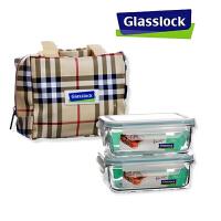红兔子(HONGTUZI) 进口钢化玻璃饭盒 微波炉保鲜盒两件套装