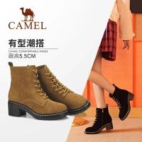 骆驼女鞋冬季新款马丁靴 时尚粗跟韩版百搭靴子系带舒适女靴