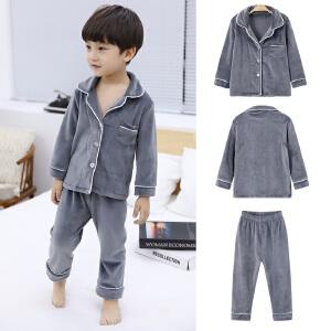 童装2018冬季新款男童家居服儿童加绒加厚长袖套装宝宝保暖两件套