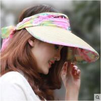 夏季女士遮阳帽空顶帽大沿蝴蝶结太阳沙滩帽草编时尚防紫外线帽