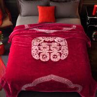 君别商场被子冬天单人婚庆毛毯结婚双层毯子大红色双人加厚保暖沙发盖毯喜冬季绒毯 200cmx230cm(加厚双层 重约7