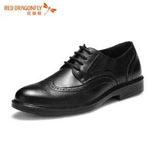 红蜻蜓蜡质鞋带时尚布洛克男士正装商务皮鞋