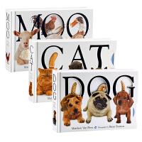 【中商原版】大厚开本纸板触摸操作书3册 盒装 英文原版 Moo Cat Dog 幼儿趣味启蒙认知 立体书