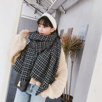 【夏上新】韩国代购新品 撞色拼接小格子流苏边围巾东大门双面披肩女