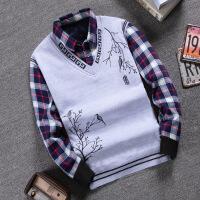 秋冬男士毛衣加绒加厚假两件衬衫领针织衫青少年修身套头保暖毛衫 801