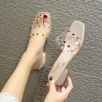 韩版女士休闲凉拖鞋 时尚水钻透明百搭拖鞋女 新款铆钉粗跟一字拖鞋女