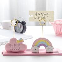 少女心照片夹便签夹创意可爱卡通云朵留言夹名片夹桌面装饰小摆件