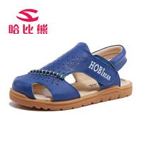 哈比熊童鞋夏季新款男童凉鞋男孩沙滩鞋中大童牛皮凉鞋潮