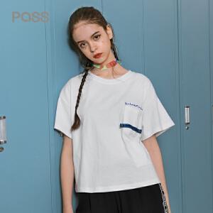 PASS夏装2018新款口袋白色t恤女宽松百搭学生短袖打底衫chic上衣