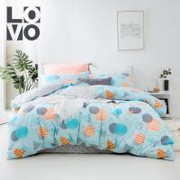 LOVO家纺 ins风全棉四件套 时尚几何床单被套 床上用品