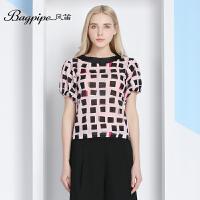 BAGPIPE/风笛2017新款夏季女士雪纺短袖T恤衫女弹力打底衫潮