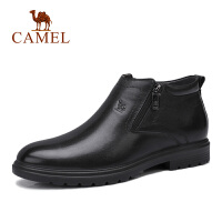 camel骆驼男鞋 2018秋季新款商务皮靴子休闲高帮防滑拉链牛皮套脚鞋