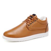 秋冬季男士皮鞋男商务休闲鞋英伦潮流运动男鞋子加绒棉鞋保暖板鞋