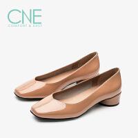 CNE春夏款温柔鞋纯色漆皮方头中跟舒适奶奶鞋女单鞋9T18901