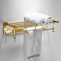 加厚金色浴巾架太空铝毛巾架浴室挂件挂架毛巾杆可折叠浴巾架