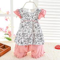 女宝宝婴儿薄款蒲公英樱桃印花套头短袖短裤可开档套装两件套