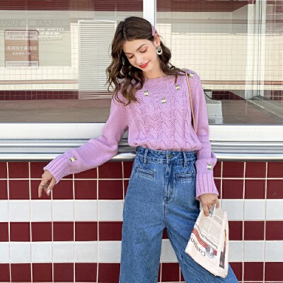 MG小象毛衣女2019新款韩版宽松外穿套头针织衫时尚毛线衣学生上衣