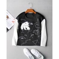 2016新款 北极熊刺绣 黑白撞色拼接圆领长袖套头卫衣秋冬女装0.25