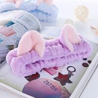 韩国可爱束发带女头饰洗脸洗漱化妆发带简约敷面膜发箍美容头巾 淡紫色
