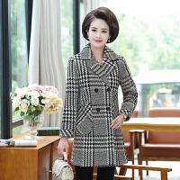 中老年外套 女士翻领毛呢格子大衣2020年冬季新款韩版时尚潮流女式宽松休闲女装妈妈装