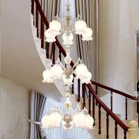 照明吊灯客厅灯双层楼梯灯长吊灯 现代简约大气欧式双层led客厅灯楼梯间