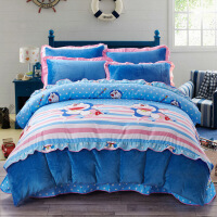 君别珊瑚绒床品四件套冬天加厚保暖毛毛带绒的床单被罩被套双面1.8m