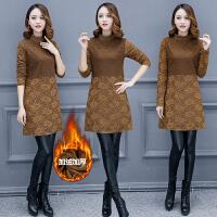 新款秋冬韩版半高领加绒加厚保暖中长款女T恤蕾丝打底衫百搭小衫BH362-009