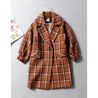 法国单保暖48.7羊毛提气质大格子花瓣袖中长毛呢大衣秋冬女装1.24