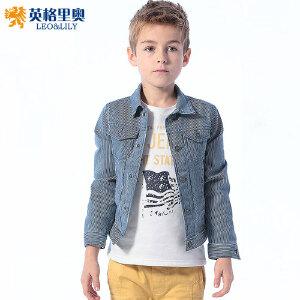 男童条纹纯棉夹克外套单排扣2018秋冬新款中大童儿童防风开衫上衣