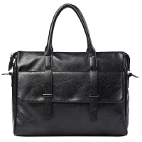 香港代购新款男士真皮手提包商务英伦出差包电脑公文包单肩斜挎包 黑色
