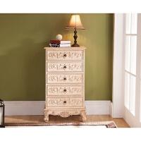 美式五斗柜地中海床头柜中式玄关柜实木收纳柜抽屉式整理柜子雕花 白色 整装