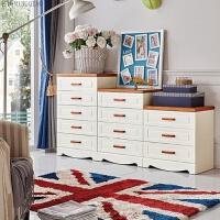 五斗柜 实木白色美式5斗储物柜收纳柜抽屉柜 组装