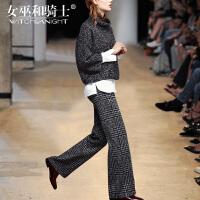 女巫2017冬装新款欧美针织衫长袖阔腿裤洋气套装女时尚气质三件套