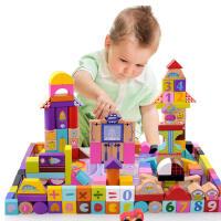 米米智玩 早教益智160块(含18块大块拼图)大块太空场景儿童积木 木制环保儿童玩具