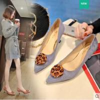 猫跟凉鞋女新款韩版尖头细跟高跟鞋浅口性感中跟职业女鞋