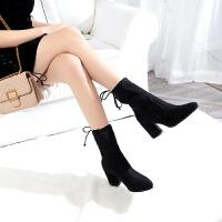 过膝长靴女高跟鞋子粗跟尖头绒面显瘦秋冬百搭弹力布马丁靴高筒靴