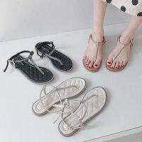 新款百搭水钻平底凉鞋女 时尚气质女士凉鞋 罗马鞋人字夹趾女鞋潮
