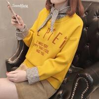 女士毛衣韩版短款假两件打底衫宽松百搭时尚女装春装2018新款潮