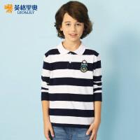 2018春秋装新款男童条纹长袖T恤中大童翻领polo衫学生打底衫12岁