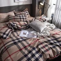 简约全棉四件套床上用品纯棉被套1.5米被子床单床笠三件套