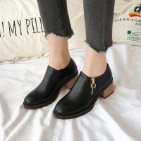 韩版中跟女士皮鞋英伦风复古鞋粗跟单鞋女新款春季高跟鞋百搭