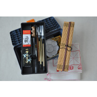 18色国画颜料套装工具17件套装 画笔笔墨纸砚 书法毛笔练习