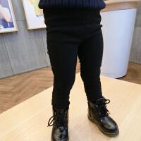 童装女童男童季加绒黑色弹力小脚裤子宝宝靴裤黑色 黑色(加绒加厚)