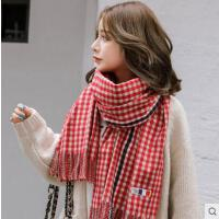 流苏仿羊绒围巾女网红同款时尚韩版百搭学生千鸟格格子长款双面披肩保暖户外运动新品