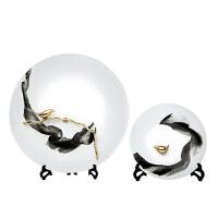 20190815014113470韦美 新中式摆件 插花花瓶 中式客厅陶瓷花器样板房铁艺装饰品