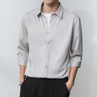 男士短袖衬衫七分袖夏季薄款 都市轻奢风纯色