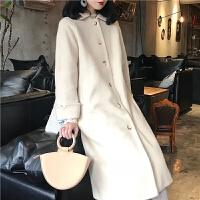 毛呢大衣女 马海绒呢子外套中长宽松单排扣冬新