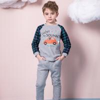【3.5折价:122.15元】souhait水孩儿童装春季新款男小童套装时尚针织套装儿童套装(80-120)