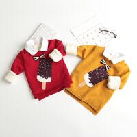 男童毛衣加绒男宝宝针织衫儿童假两件套头羊绒衫加厚2017新款装